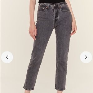 BDG high rise washed gray straight leg jeans